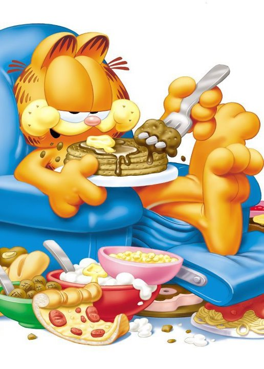 Garfield eating