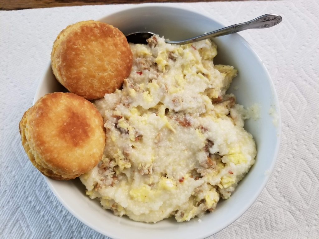 Breakfast Bowl-grits-eggs-sausage-biscuit