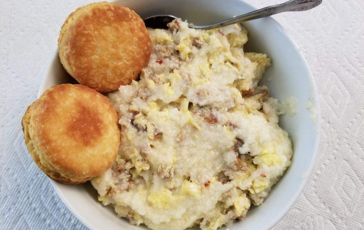 Breakfast Bowl-grits-eggs-sausage-biscuit