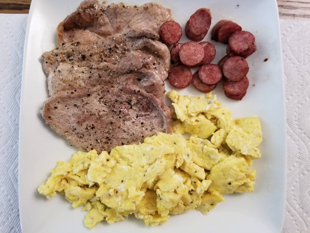 pork chops-scrambled eggs-smoked sausage